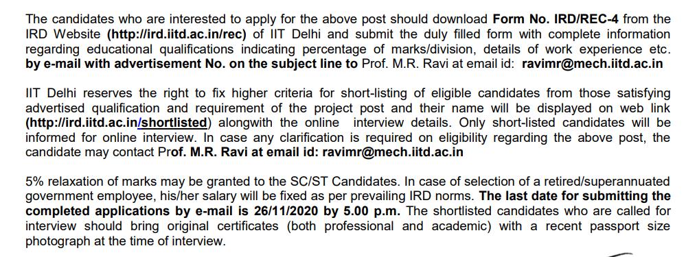 IIT Delhi Recruitment 2020 – Apply Online For 11 Sr. Project Assistant, Jr. Project Attendant Vacancies - Govt Apply